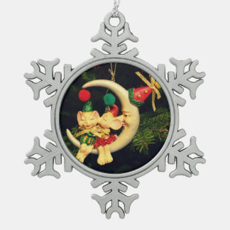 Christmas's mice on the Moon Pewter Snowflake Ornament