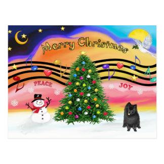Christmast Music 2 - Pomeranian (black) Postcard
