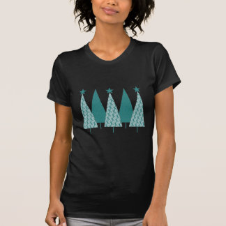 Christmast Trees Teal Ribbon - Ovarian Cancer T-Shirt