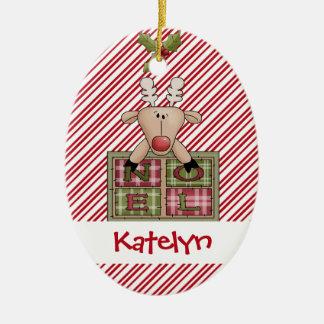 Christmastime Reindeer Noel Gift Ceramic Ornament
