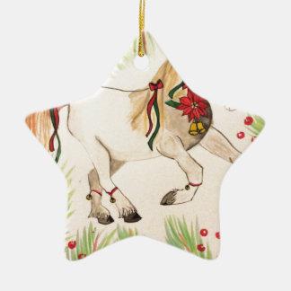 ChristmasUnicorn Ceramic Star Ornament
