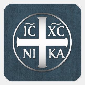 Christogram ICXC NIKA Jesus Conquers Square Sticker