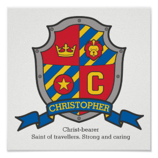 Christopher boys name meaning heraldry shield poster