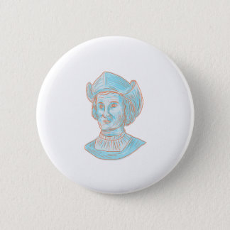 Christopher Colombus Explorer Bust Drawing 2 Inch Round Button