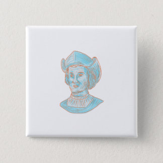 Christopher Colombus Explorer Bust Drawing 2 Inch Square Button