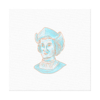 Christopher Colombus Explorer Bust Drawing Canvas Print