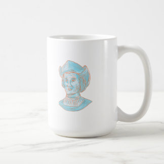 Christopher Colombus Explorer Bust Drawing Coffee Mug