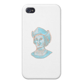 Christopher Colombus Explorer Bust Drawing iPhone 4/4S Case