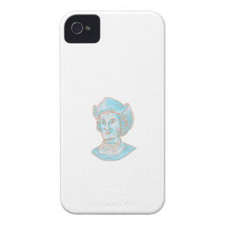 Christopher Colombus Explorer Bust Drawing iPhone 4 Case