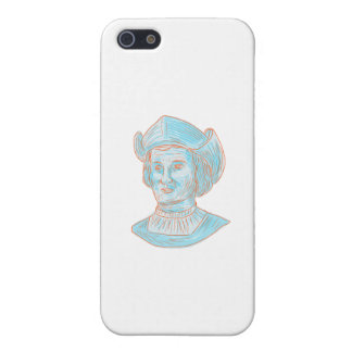 Christopher Colombus Explorer Bust Drawing iPhone 5/5S Case