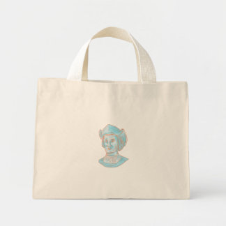 Christopher Colombus Explorer Bust Drawing Mini Tote Bag