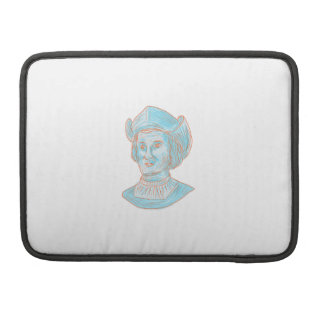 Christopher Colombus Explorer Bust Drawing Sleeve For MacBook Pro