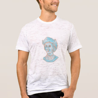 Christopher Colombus Explorer Bust Drawing T-Shirt