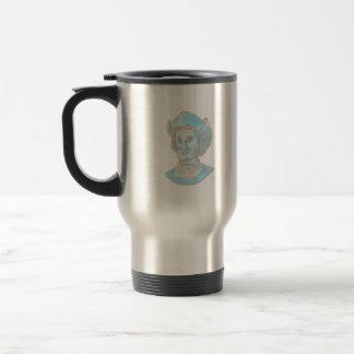 Christopher Colombus Explorer Bust Drawing Travel Mug