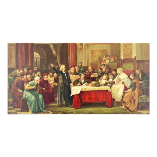 Christopher Columbus at the Royal Court of Spain Personalized Photo Card