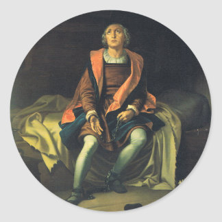 Christopher Columbus paint by Antonio de Herrera Classic Round Sticker