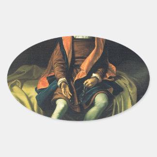 Christopher Columbus paint by Antonio de Herrera Oval Sticker