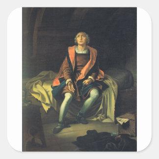 Christopher Columbus paint by Antonio de Herrera Square Sticker