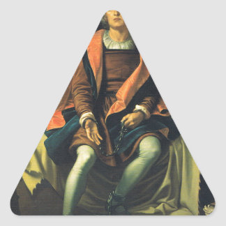 Christopher Columbus paint by Antonio de Herrera Triangle Sticker
