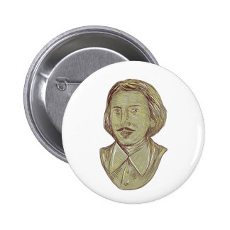 Christopher Marlowe Bust Drawing 2 Inch Round Button