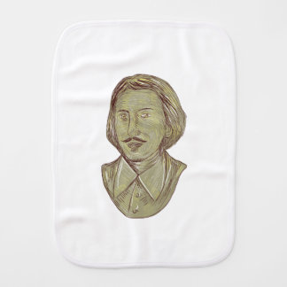 Christopher Marlowe Bust Drawing Burp Cloth