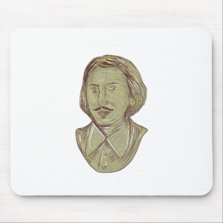 Christopher Marlowe Bust Drawing Mouse Pad