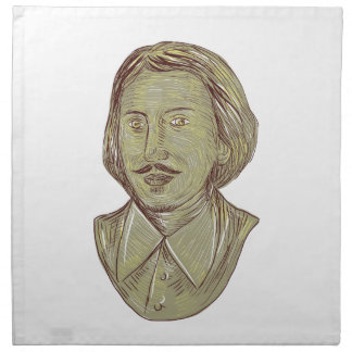 Christopher Marlowe Bust Drawing Napkin