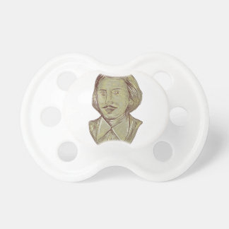 Christopher Marlowe Bust Drawing Pacifier