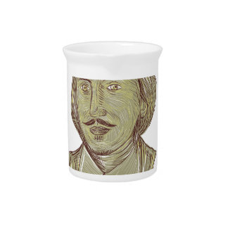 Christopher Marlowe Bust Drawing Pitcher