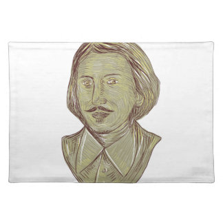 Christopher Marlowe Bust Drawing Placemat