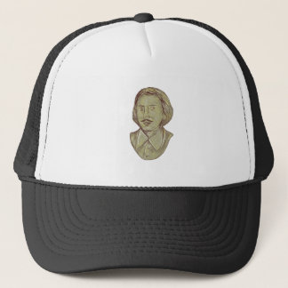 Christopher Marlowe Bust Drawing Trucker Hat