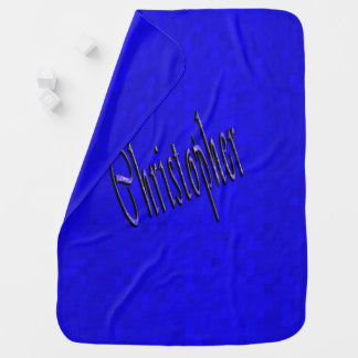 Christopher Name Logo On Blue Mosaic, Baby Blanket