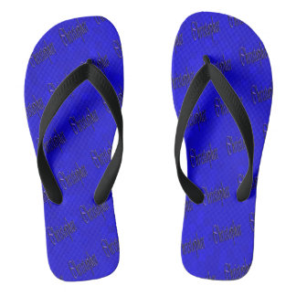Christopher, Name, Logo, On Blue Mosaic Flip Flops
