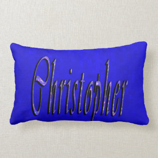 Christopher, Name, Logo, On Blue Mosaic, Lumbar Pillow