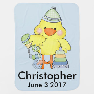 Christopher's Personalized Baby Chick Baby Blanket