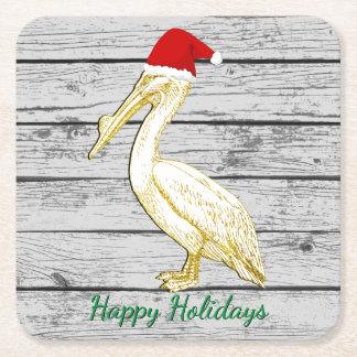 Chritmas Pelican Personalize Square Paper Coaster