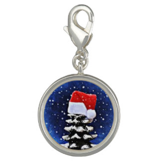 Chritmas tree Round Charm, Silver Plated Charm
