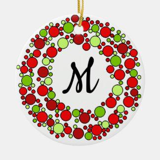 Chritsmas wreath monogram ornament