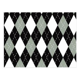 Chromatic Argyle black, grey, white Postcard