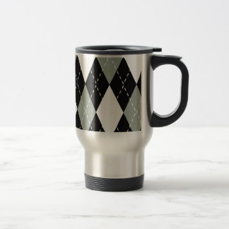 Chromatic Argyle black, grey, white Travel Mug
