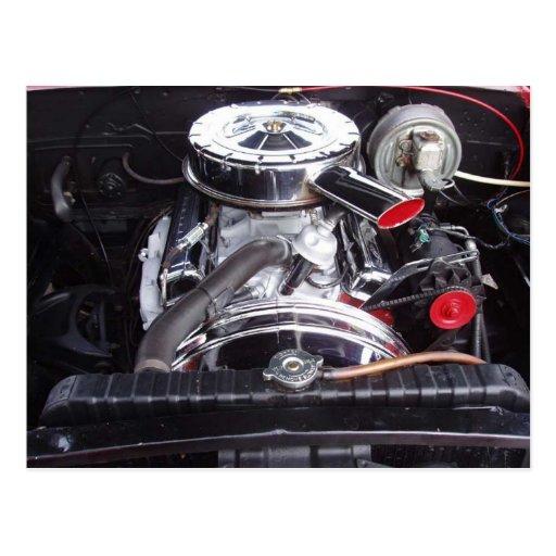 chrome 1960 impala engine postcard