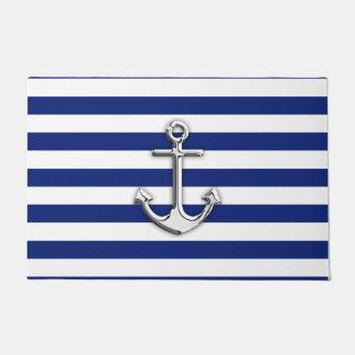 Chrome Anchor on Nautical Navy Blue Stripes Print Doormat