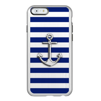 Chrome Anchor on Nautical Navy Blue Stripes Print Incipio Feather® Shine iPhone 6 Case