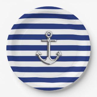 Chrome Anchor on Nautical Navy Blue Stripes Print Paper Plate