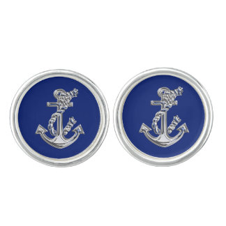 Chrome Anchor on Navy Blue Cuff Links