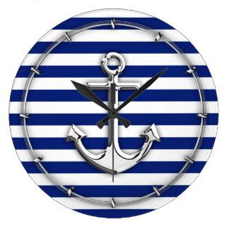 Chrome Anchor on Navy Stripes Clock
