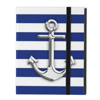 Chrome Anchor on Navy Stripes Covers For iPad