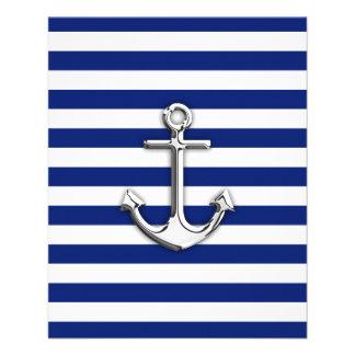 Chrome Anchor on Navy Stripes Flyer Design