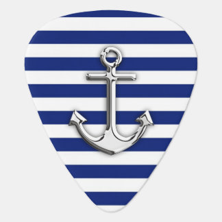 Chrome Anchor on Navy Stripes Guitar Pick