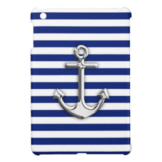 Chrome Anchor on Navy Stripes iPad Mini Covers